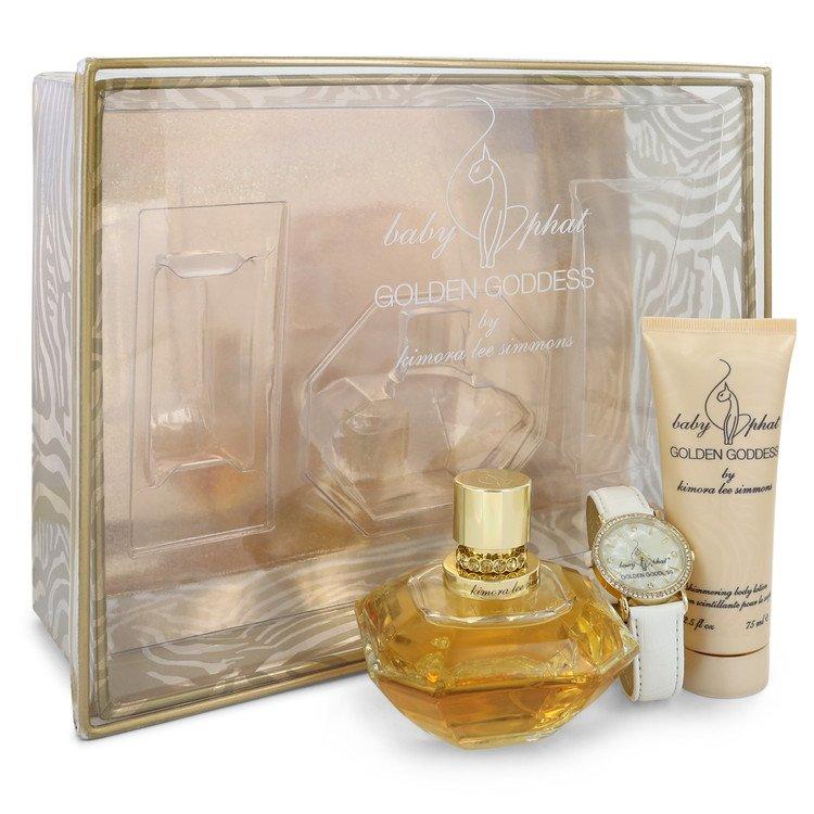 Golden Goddess for Women, Gift Set (3.4 oz EDP Spray + 2.5 oz Body Lotion + Watch)