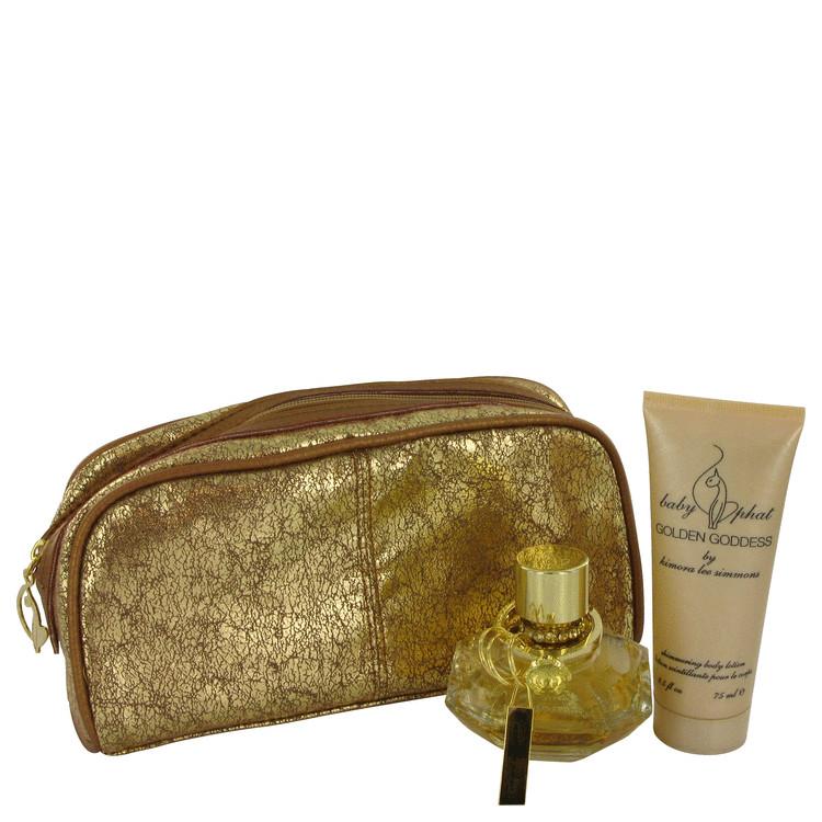 Golden Goddess Gift Set -- Gift Set - 1.7 oz Eau De Parfum Spray + 2.5 oz Body Lotion + Key Chain + Cosmetic Bag for Women