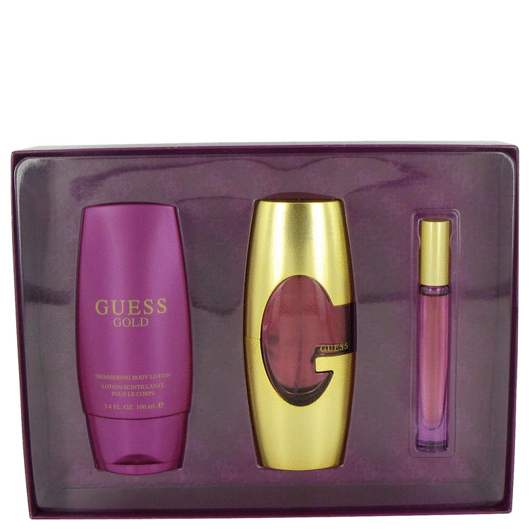 Guess Gold Gift Set -- Gift Set - 2.5 oz Eau De Parfum Spray + 3.4 oz Body Lotion + .2 oz Min EDP Roll On for Women