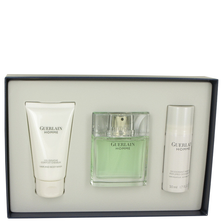 Guerlain Homme for Men, Gift Set (2.7 oz EDT Spray + 1.7 oz Deodiorant + 2.5 oz Hair & Body Wash)