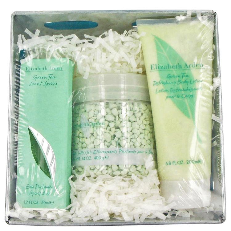 Green Tea Gift Set -- Gift Set - 1.7 oz Eau De Parfum Spray + 6.8 oz Body Lotion + 0.14 oz Fizzing Bath Salts for Women