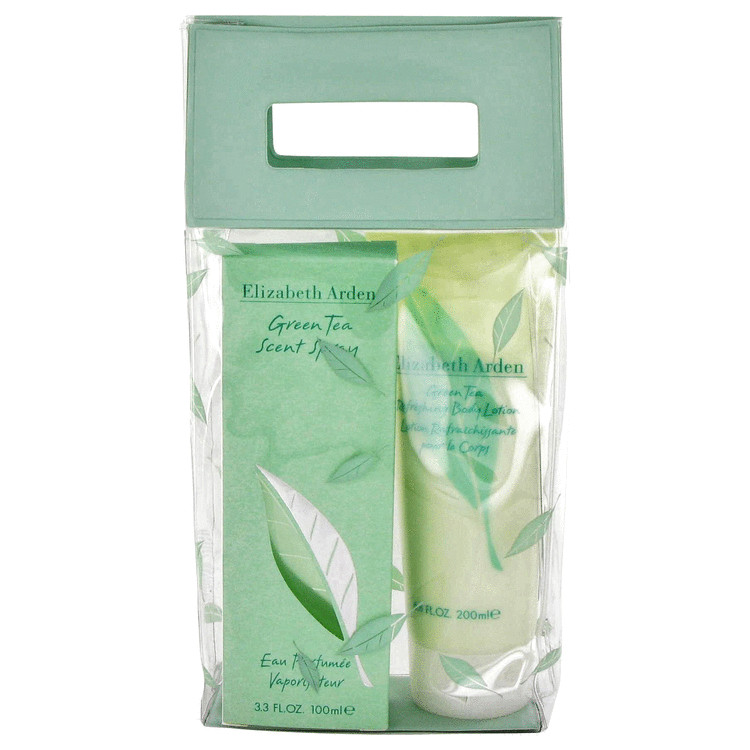 Green Tea Gift Set -- Gift Set - 3.3 oz Scent Spray + 6.8 oz Body Lotion + PVC Cosmetic Bag for Women