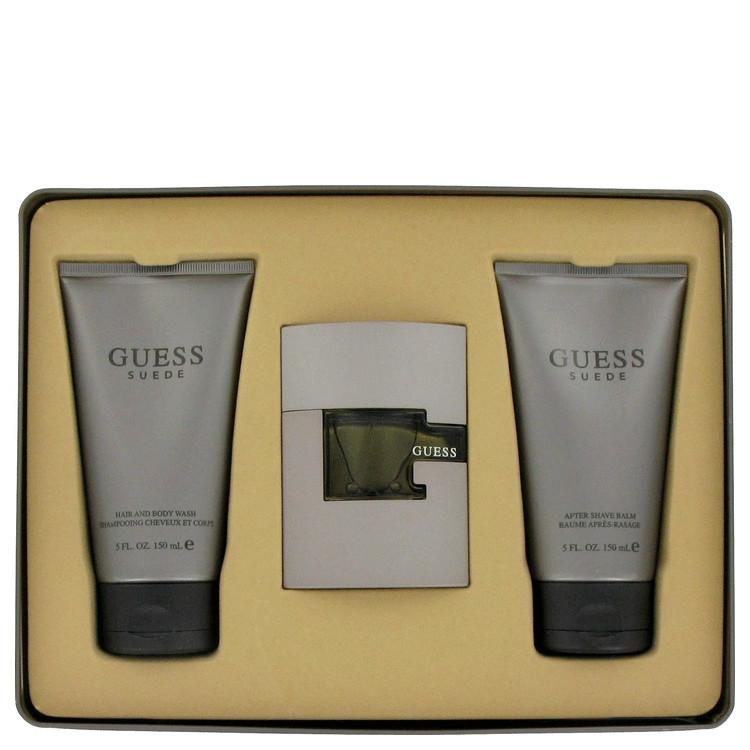 Guess Suede for Men, Gift Set (1.7 oz EDT Spray + 5.0 oz Shower Gel + 5.0 oz After Shave Balm)