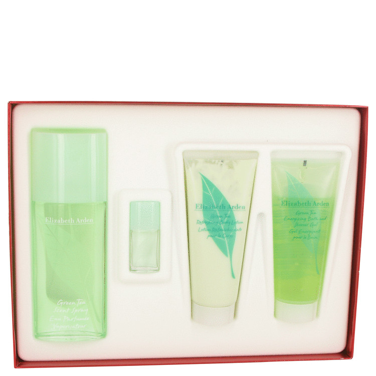 Green Tea Gift Set -- Gift Set - 3.3 oz Eau De Parfum Spray + 3.3 oz Body Lotion + 3.3 oz Shower Gel + .12 oz Min EDP for Women