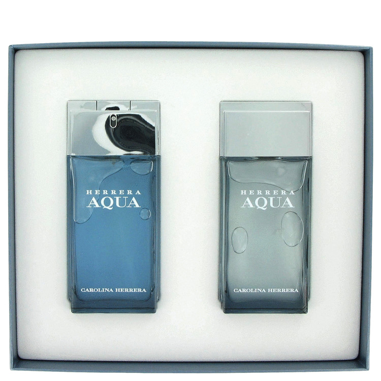 Herrera Aqua Gift Set -- Gift Set - 3.4 oz Eau De Toilette Spray + 3.4 oz After Shave for Men