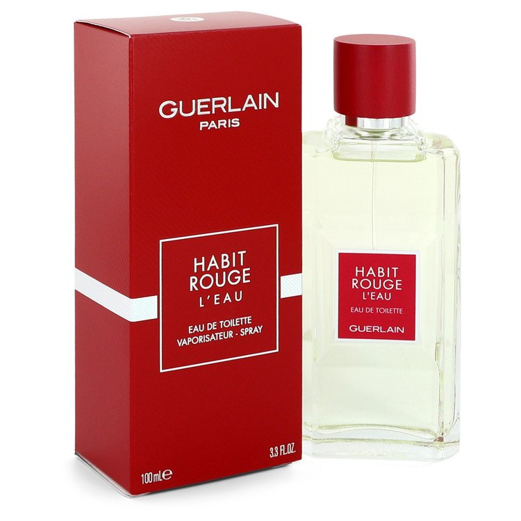 Habit Rouge L'eau Cologne by Guerlain 3.3 oz EDT Spay for Men