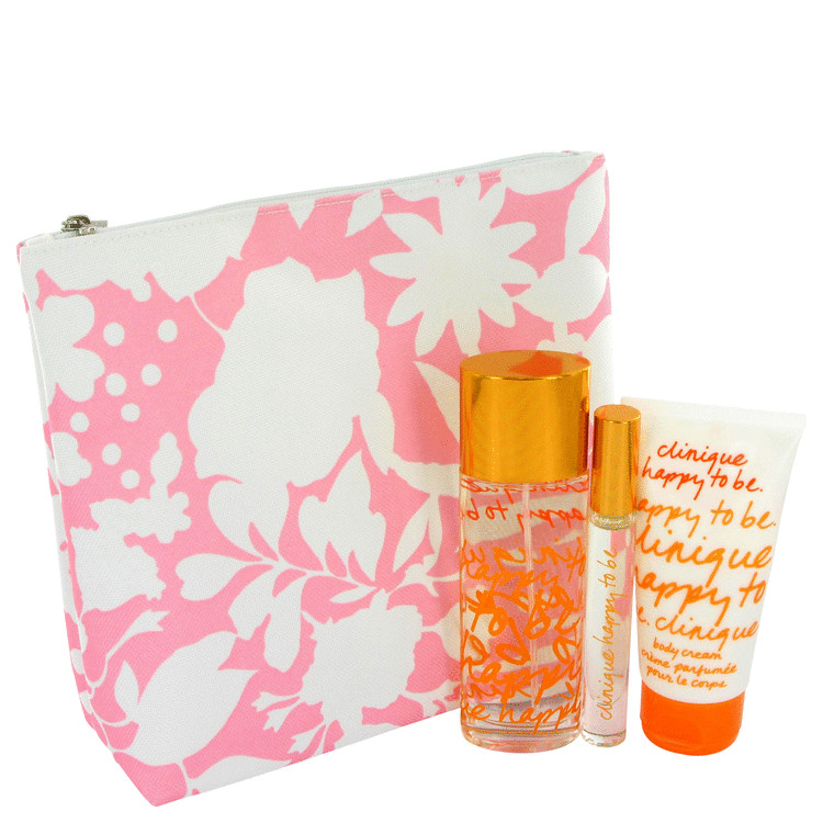 Happy To Be Gift Set -- Gift Set - 1.7 oz Eau De Parfum Spray + .2 oz Roll-on + 2.5 oz Body Cream in Cosmetic Bag for Women