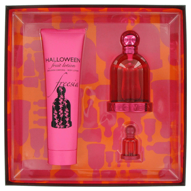 Halloween Freesia Gift Set -- Gift Set - 3.4 oz Eau De Toilette Spray + .15 oz Mini EDT + 5.0 oz Body Lotion for Women
