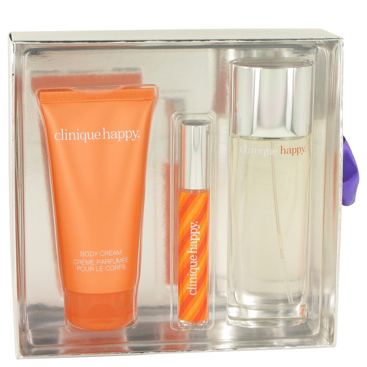 Happy Gift Set -- Gift Set - 1.7 oz Eau De Parfum Spray + 2.5 oz Body Cream + Roller Ball Perfume Pen in Gift Box for Women