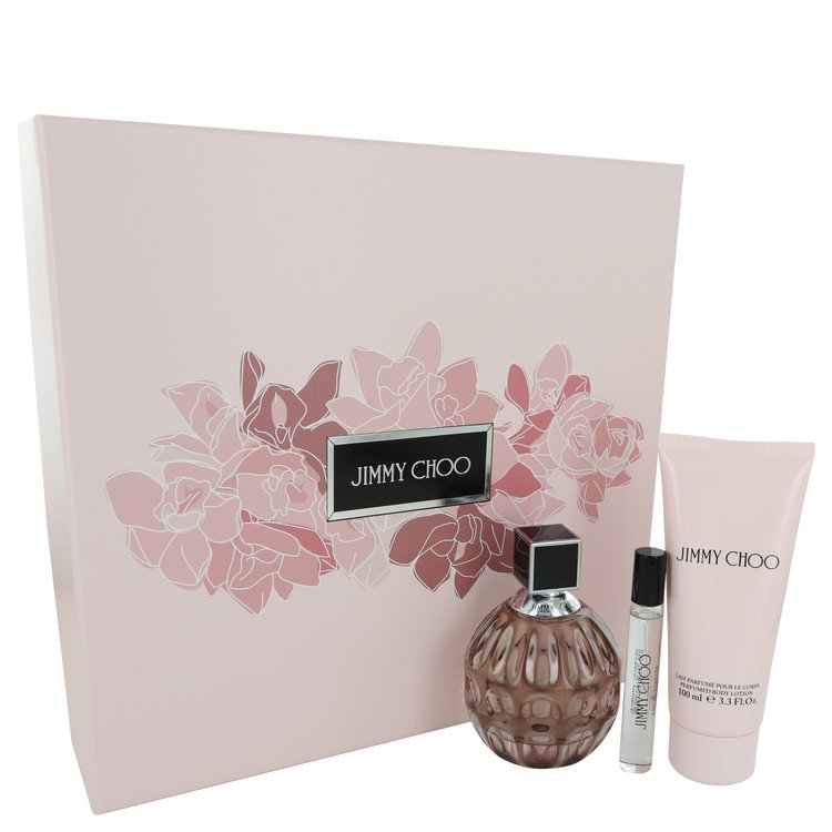 Jimmy Choo Gift Set -- Gift Set - 3.3 oz Eau De Parfum Spray + 3.3 Body Lotion + .25 oz Mini EDP Spray for Women