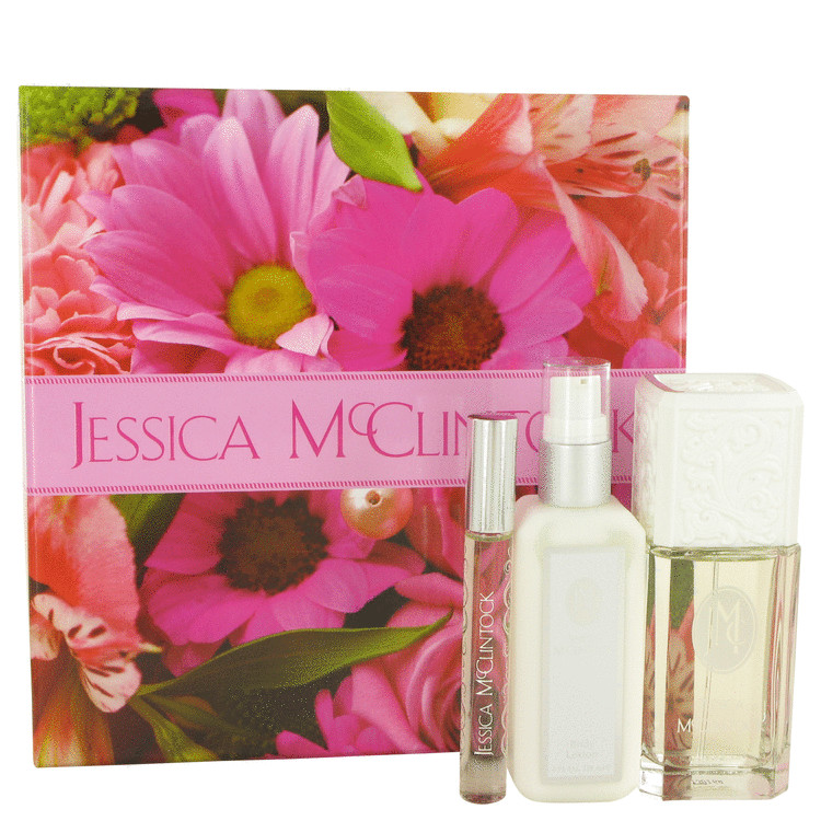 Jessica Mc Clintock Gift Set -- Gift Set - 3.4 oz Eau De Parfum Spray + 4 oz Body Lotion + .33 oz Roll-on EDP for Women