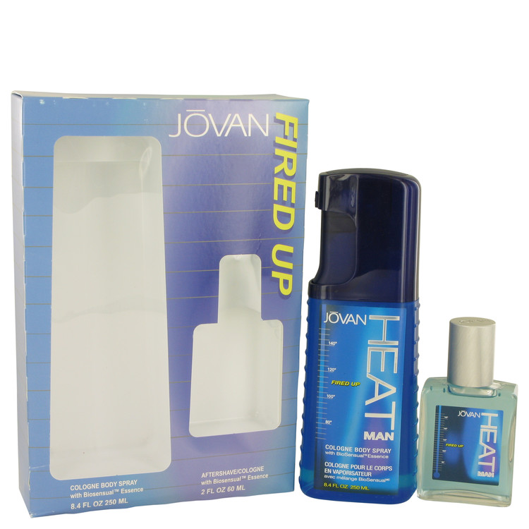 Jovan Heat Fired Up by Jovan for Men Gift Set -- 8.4 oz Cologne Body Spray + 2 oz After Shave/Cologne
