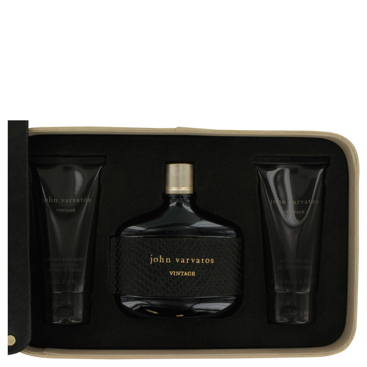 John Varvatos Vintage Gift Set -- Gift Set - 4.2 oz Eau De Toilette Spray + 2.5 oz After Shave Gel + 2.5 oz Hair & Body Wash for Men