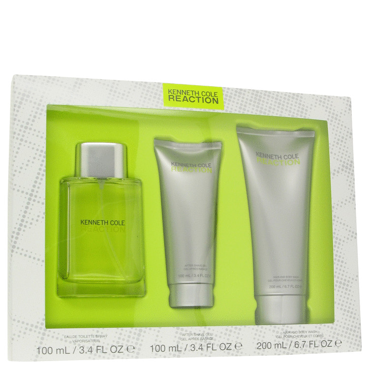 Kenneth Cole Reaction Gift Set -- Gift Set - 3.4 oz Eau De Toilette Spray + 3.4 oz After Shave Gel + 6.7 oz Shower Gel for Men
