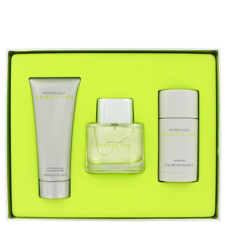 Kenneth Cole Reaction Gift Set -- Gift Set - 1.7 oz Eau De Toilette Spray + 3.4 oz After Shave Gel +2.6 oz Deodorant for Men