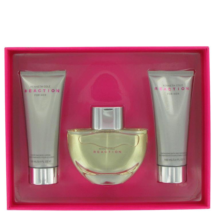 Kenneth Cole Reaction Gift Set -- Gift Set - 3.4 oz Eau De Parfum Spray + 3.4 oz Body Lotion + 3.4 oz Shower Gel for Women