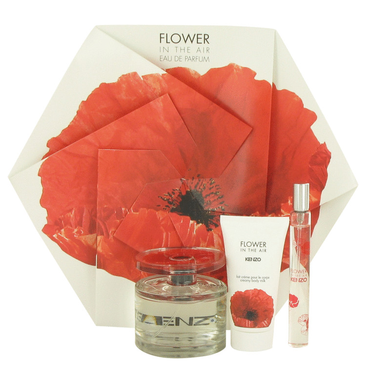 Kenzo Flower In The Air Gift Set -- Gift Set - 3.4 oz Eau De Parfum Spray + 1.7 oz Creamy Body Milk +.5 oz Mini EDP Spray for Women