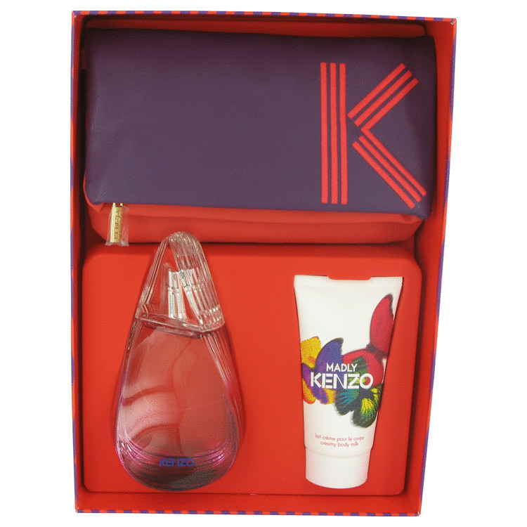 Madly Kenzo for Women, Gift Set (2.7 oz EDT Spray + 1.7 oz Body Milk + Fashion Pouch)