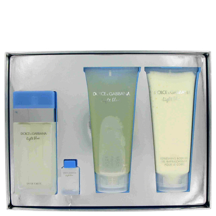 Light Blue for Women, Gift Set (3.4 oz EDT Spray + 6.7 oz Body Cream + 6.7 oz Shower Gel + .15 oz Mini EDT Spray)