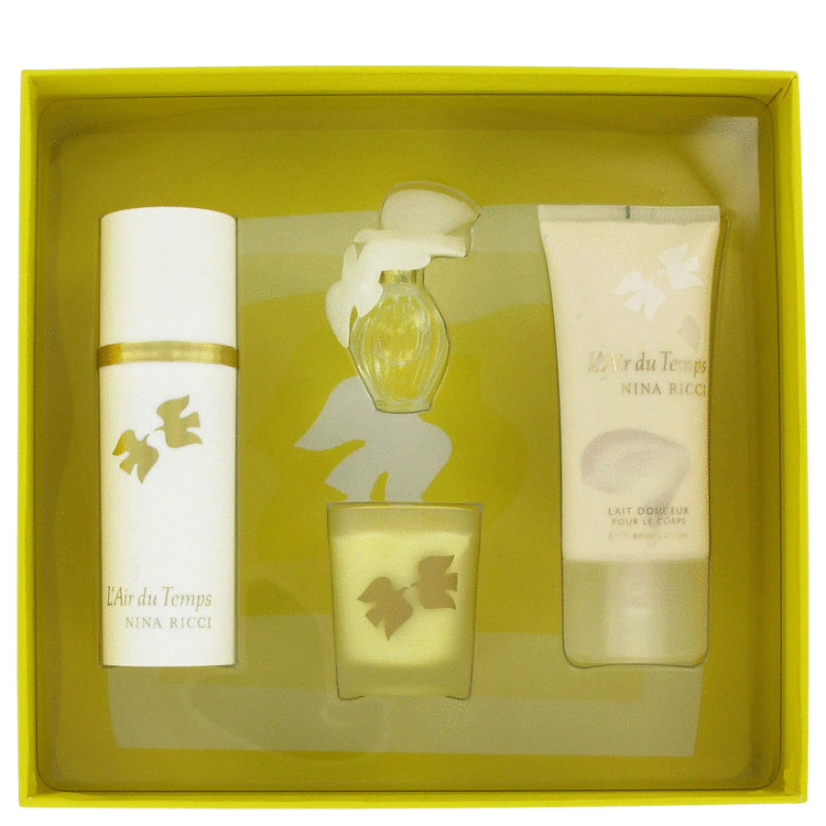 L'air Du Temps for Women, Gift Set (1.0 oz EDT Spray + 1.7 oz Body Lotion + 1.2 oz Candle + .20 oz Mini EDT)