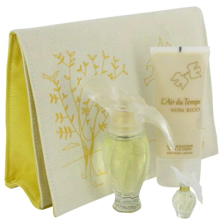 L'air Du Temps Gift Set -- Gift Set - 1.0 oz Eau De Toilette Spray + 1.7 oz Body Lotion + .085 oz Mini EDT + Purse for Women