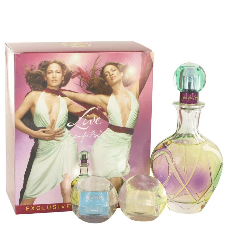 Live Gift Set -- Gift Set - 3.4 oz Eau De Parfum Spray + 1 Cream Eye Shadow Compact + 1 Lip Gloss Color Compact for Women