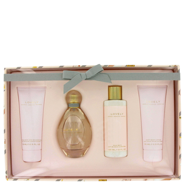 Lovely Gift Set -- Gift Set - 3.4 oz Eau De Parfum Spray + 2.5 oz Body Lotion + 2.5 oz Shower Gel + 4 oz Milk Bath for Women