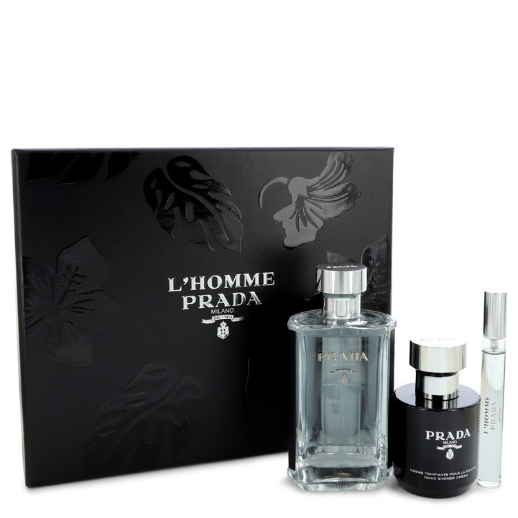 Prada L'homme by Prada Men's Gift Set -- 3.4 oz Eau De Toilette Spray + .34 oz Mini EDT Spray + 3.4 oz Shower Cream