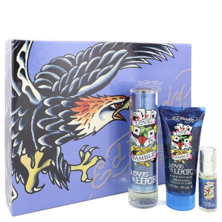 Love & Luck Gift Set -- Gift Set - 1.7 oz Eau De Toilette Spray + 3 oz Hair & Body Wash + .25 oz Mini EDT for Men