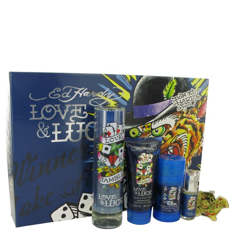 Love & Luck Gift Set -- Gift Set - 3.4 oz Eau De Toilette Spray + 3 oz Hair & Body Wash + 2.75 oz Deodorant Stick + .25 oz Mini EDT Spray + Tatoo Desi