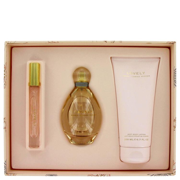 Lovely Gift Set -- Gift Set - 3.4 oz Eau De Parfum Spray + 6.7 oz Body Lotion + .2 oz EDP Shimmer Rollerball for Women