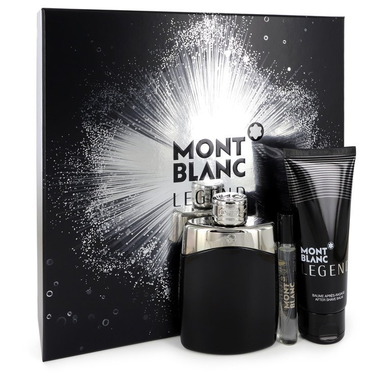 Montblanc Legend Gift Set -- Gift Set - 3.3 oz Eau De Toilette Spray +.25 oz  Mini EDT Spray + 3.3 oz After Shave Balm for Men