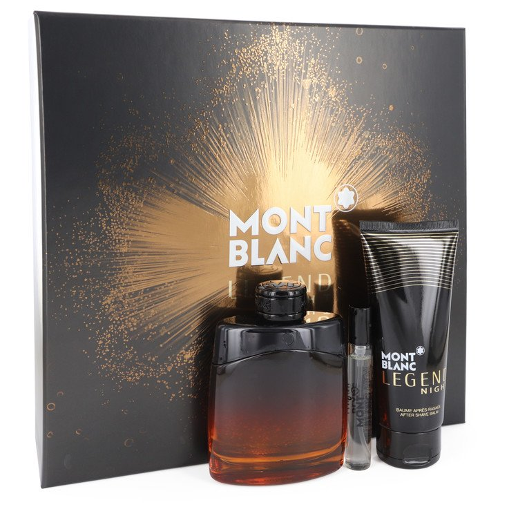 Montblanc Legend Night Gift Set -- Gift Set - 3.3 oz Eau De Parfum Spray +.25 oz  Mini EDP Spray + 3.3 oz After Shave Balm for Men