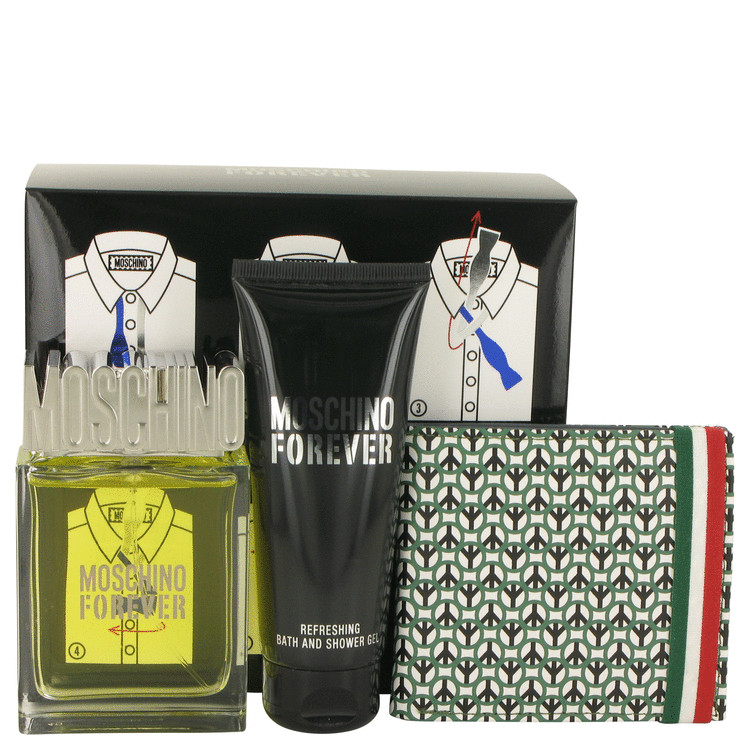 Moschino Forever for Men, Gift Set (3.4 oz EDT Spray + 3.4 oz Shower Gel + Wallet)