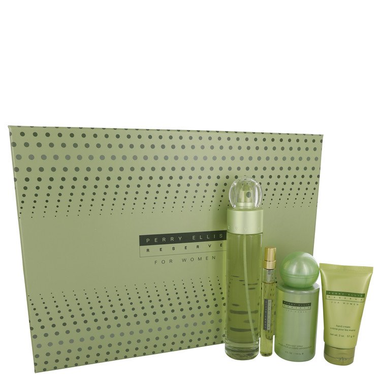 PERRY ELLIS RESERVE by Perry Ellis for Women Gift Set -- 3.4 oz Eau De Parfum Spray+ .33 oz Mini EDP Spray + 4 oz Body Mist Spra