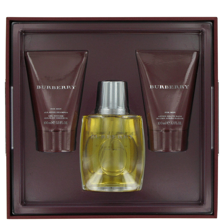 Burberry for Men, Gift Set (3.4 oz EDT Spray + 3.4 oz After Shave Balm + 3.4 oz All Over Shampoo)