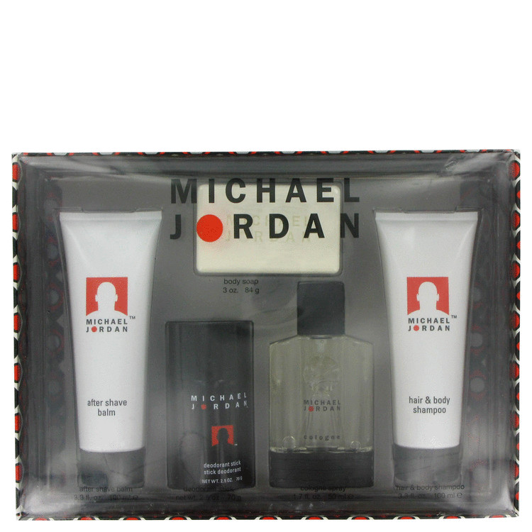 Michael Jordan for Men, Gift Set (3.4 oz Cologne Spray + 4 oz Moisture Balm + 4 oz Body Shampoo + 5 oz Soap)