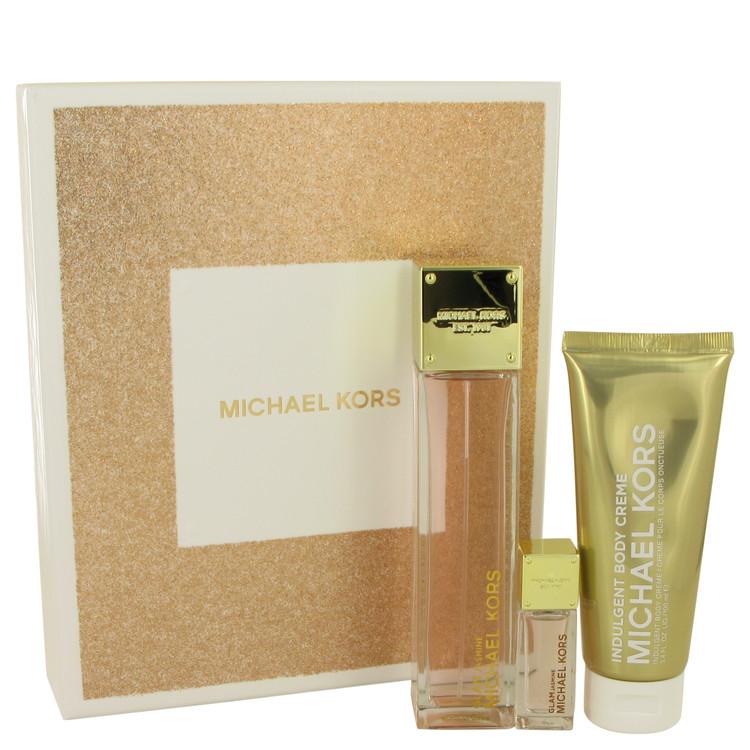 Michael Kors Glam Jasmine Gift Set -- Gift Set - 3.4 oz Eau De Parfum Spray + .24 oz Mini EDP + 3.4 oz Body Creme . for Women