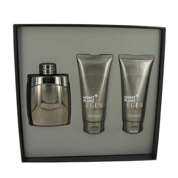 Montblanc Legend Intense by Mont Blanc for Men Gift Set -- 3.3 oz Eau De Toilette Spray + 3.3 oz After Shave Balm + 3.3 oz Showe