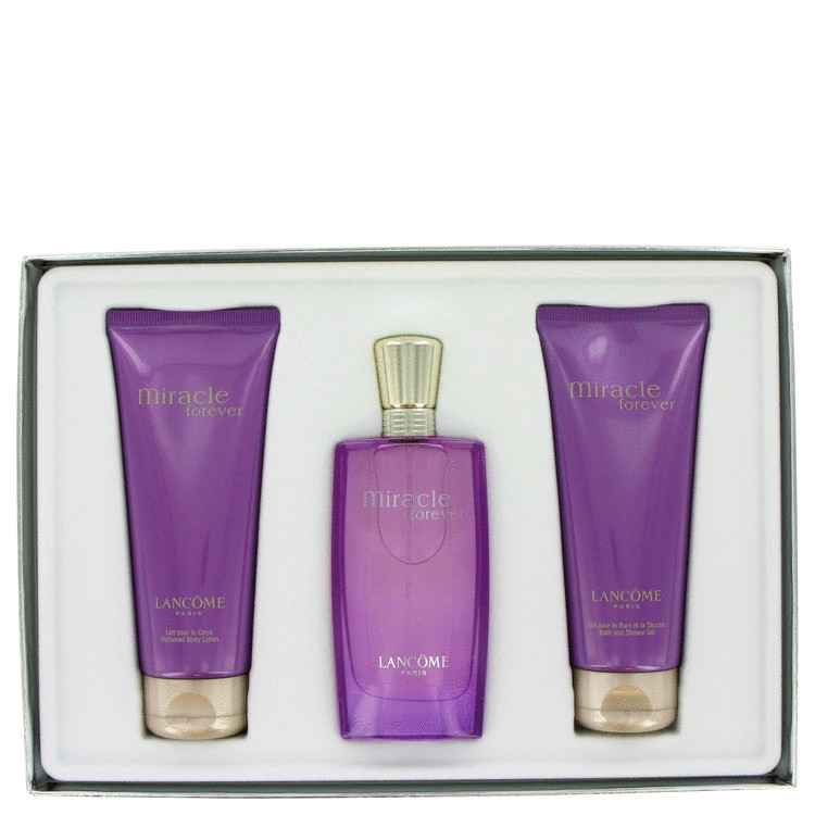 Miracle Forever Gift Set -- Gift Set - 1.7 OZ Eau De Parfum Spray + 3.4 oz Body Lotion + 3.4 oz Shower Gel for Women