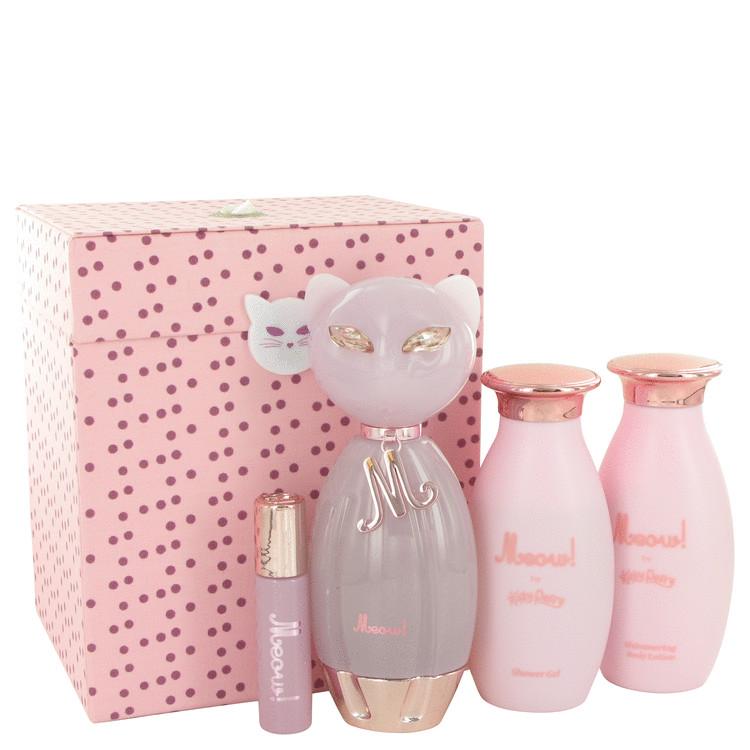 Meow Gift Set -- Gift Set - 3.4 oz Eau De Parfum Spray + 4 oz Shower Gel + 4 oz Body Lotion + .34 oz EDP Roll On for Women