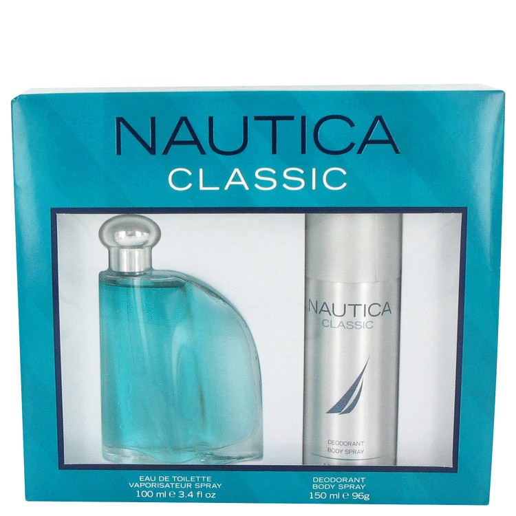 Nautica Classic Gift Set -- Gift Set - 3.4 oz Eau De Toilette Spray + 5 oz Deodorant Body Spray for Men