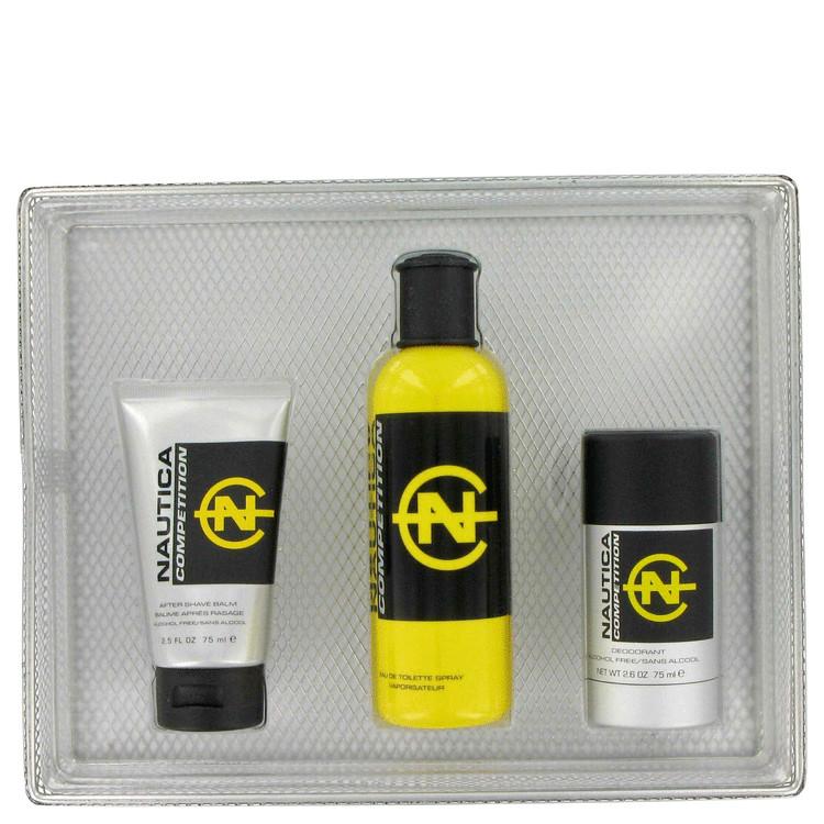 Nautica Competition Gift Set -- Gift Set - 4.2 oz Eau De Toilette Spray + 2.5 oz After Shave Balm + 2.6 oz Deodorant (Yellow box, Relaunched version)