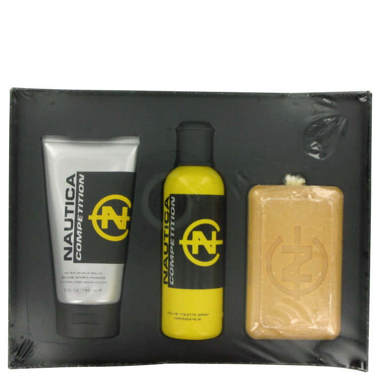Nautica Competition Gift Set -- Gift Set - 4.2 oz Eau De Toilette Spray + 5 oz After Shave Balm + 10 oz Soap (Yellow box, Relaunched version) for Men