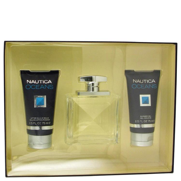 Nautica Oceans Gift Set -- Gift Set - 3.4 oz Eau De Toilette Spray + 2.5 oz After Shave Balm + 2.5 oz Shower Gel for Men