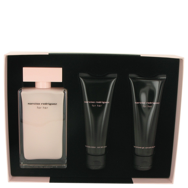 Narciso Rodriguez for Women, Gift Set (3.3 oz EDP Spray + 2.5 oz Body Lotion + 2.5 oz Shower Gel)