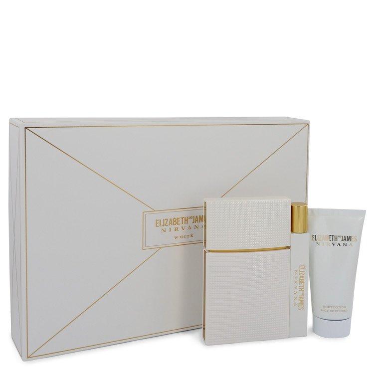 Nirvana White by Elizabeth and James for Women Gift Set -- 1.7 oz Eau De Parfum Spray + .34 oz Mini EDP Rollerball + 1.7 oz Body