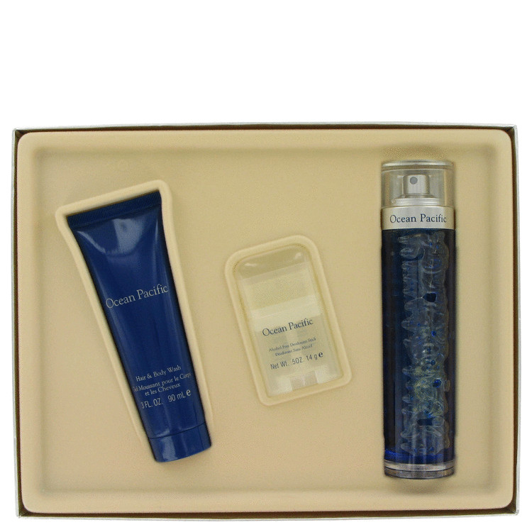 Ocean Pacific for Men, Gift Set (2.5 oz Cologne Spray + 3 oz Hair Body Wash + .5 oz Deodorant Stick)