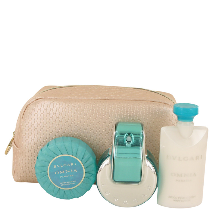 Omnia Paraiba by Bvlgari for Women Gift Set -- 2.2 oz Eau De Toilette Spray + 2.5 oz Body Lotion + 2.6 oz Scented Soap + Beauty