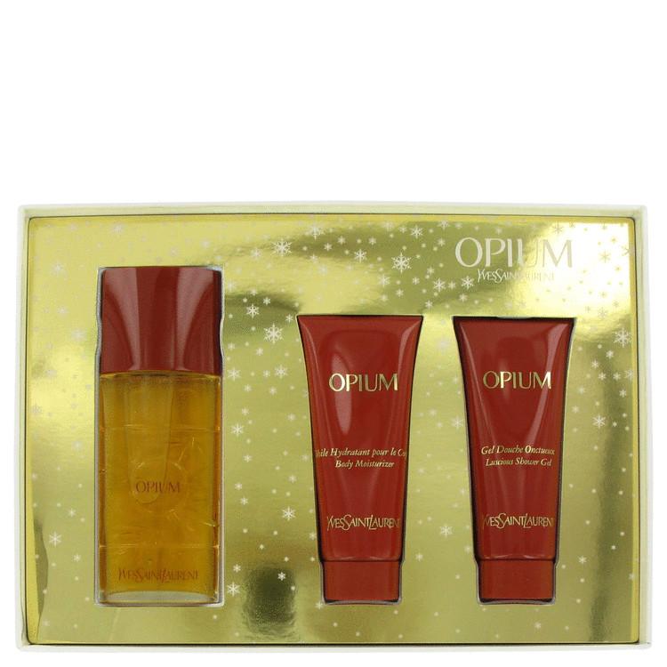 Opium Gift Set -- Gift Set - 1.6 oz Eau De Toilette Spray + 2.5 oz Body Lotion + 2.5 oz Shower Gel for Women